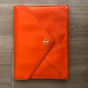 "Tory Burch ""Robinson"" Orange Envelope Clutch"